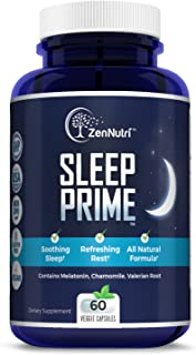 Natural Premium Sleep Aid | Herbal Stress, Anxiety & Insomnia Relief Supplement Pills | Relaxing & Calming Formula | Melatonin, Chamomile, Valerian Root - 60 Non-Habit Forming Veggie Caps