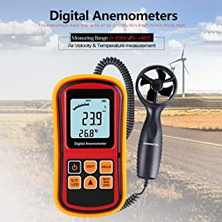 QYY Split Type Digital Anemometer, 0.0~45M/S Handheld Anemometer with LCD Backlight, Wind Speed Meter for Measuring Wind Speed, Temperature, Wind Chill