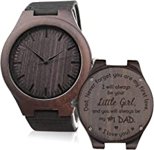 Custom Engraved Wooden Watches for Men Lightweight Black Leather Strap Watch Personalized Gifts for Son Father Husband Boyfriend Anniversary Gifts for Men
