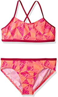 Nike Girl's Graphic Crossback Bikini 2-Piece Swimsuit Sport Fuchsia