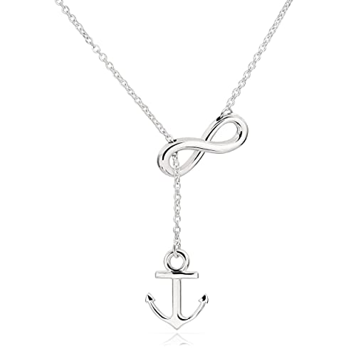 b8016b4b6 ELBLUVF Newest Stainless Steel Anchor Infinity Y Shaped Lariat Style  Necklace 18inch for Women 3 Colors