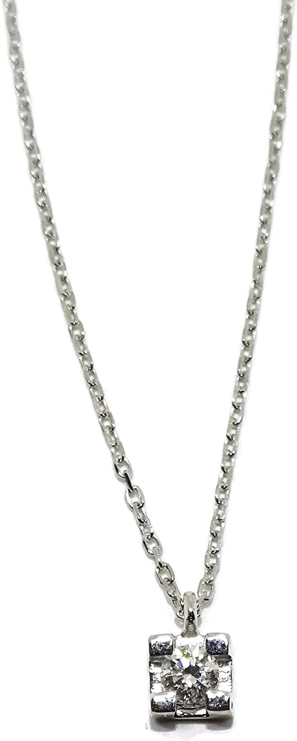Diamond Pendant Collar Necklace 18K White Gold | Solitaire Charm Chain 40 cm | 4 Prong Setting Brilliant-Cut 0.08 carats | 1.55g Real Gold | Never say Never Italian Fine Jewelry | Iced Out Gift for Bride Fiancée Quinceanera