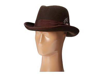 Stacy Adams Homburg Wool Felt Hat w/ Grosgrain Band (Chocolate) Fedora Hats
