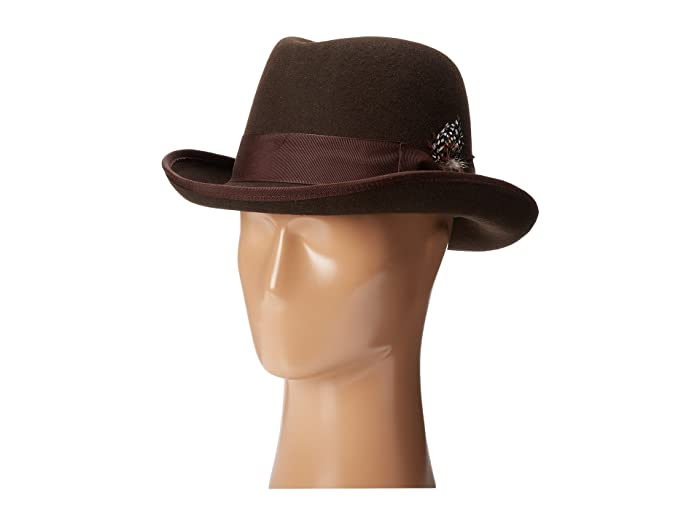 Stacy Adams Homburg Wool Felt Hat w/ Grosgrain Band (Chocolate) Fedora Hats