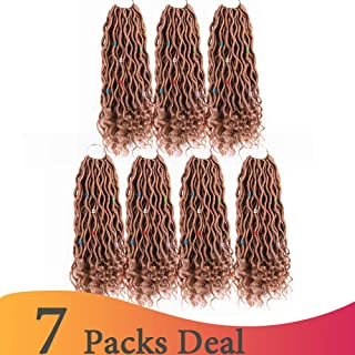 (14 inch,27#,50g/pack,24 Roots) BaiHong Goddess Locs Crochet Hair with Curly Ends Wavy 7 Packs Soft Synthetic Crochet Braiding Hair Extensions For Black Women (14 inch, 27#)