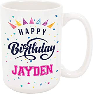 Happy Birthday Jayden - Large 15 Ounce Coffee or Tea Mug, Gift Present Birthday Unique Special Fun Idea