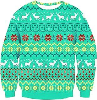 Loveternal Unisex Christmas Pullover Sweatshirts 3D Printed Sweater Blouse Shirt