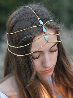 Aegenacess Wedding Hair Chain Gold Turquoise Indian Hair Jewelry Boho Festival Egyptian Pendant Headpiece Beads bridal Hairstyle Prom Wedding Headpiece Festival Summer Christmas