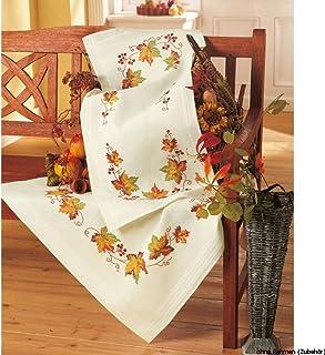 Vervaco Tischläufer Herbst Stickpackung/Läufer im vorgedruckten/vorgezeichneten Kreuzstich, Baumwolle, Mehrfarbig, 40 x 100 x 0.3 cm
