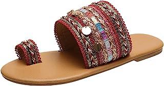 Geilisungren Damen Sandalen Sommer Open Toe Slide Flats Sandalen Einfache Schuhe Strand Reise Slipper Damen Böhmen Bottom ...