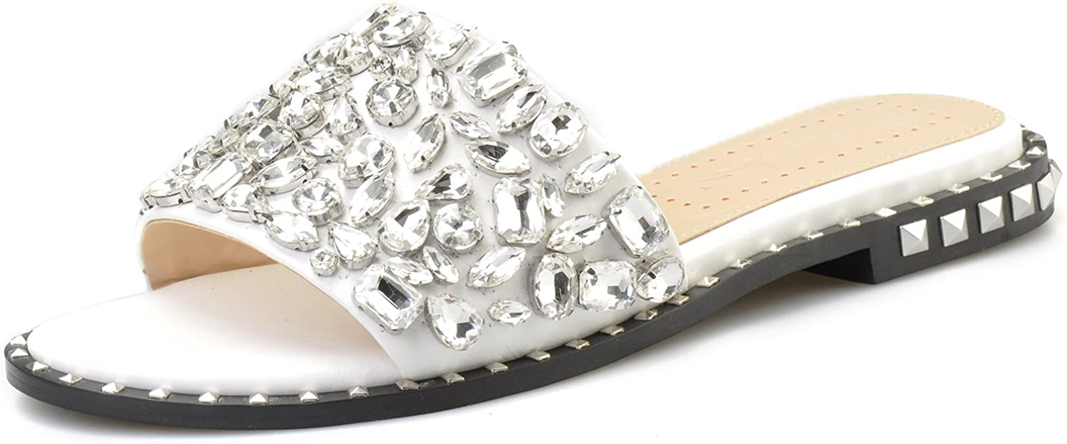Pinkpalms Women Flipflops Multi Max 77% OFF Crystals Embellished Flat Shoes Latest item