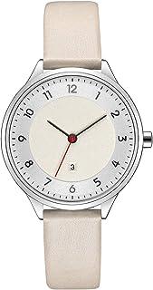ساعات نسائية نسائية معصم ساعة عصرية بحزام من الجلد للسيدات ساعة كوارتز حركة بسيطة (اللون: D)