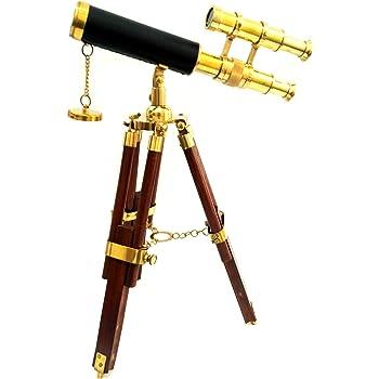 Artshai Antique Brass Double Barrel Telescope with Tripod Stand Brass.