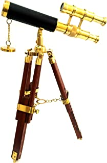 Artshai Antique Brass Double Barrel Telescope with Tripod Stand Brass.