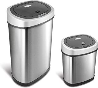 NINESTARS CB-DZT-50-9/12-9 Automatic Touchless Infrared Motion Sensor Trash Can Combo Set, 13 Gal 50L & 3 Gal 12L, Stainless Steel Base (Oval, Silver/Black Lid)