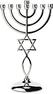 Silver Star David Candle Holder Decorative Judaica 7 Branch Israel Menorah Hanukkah