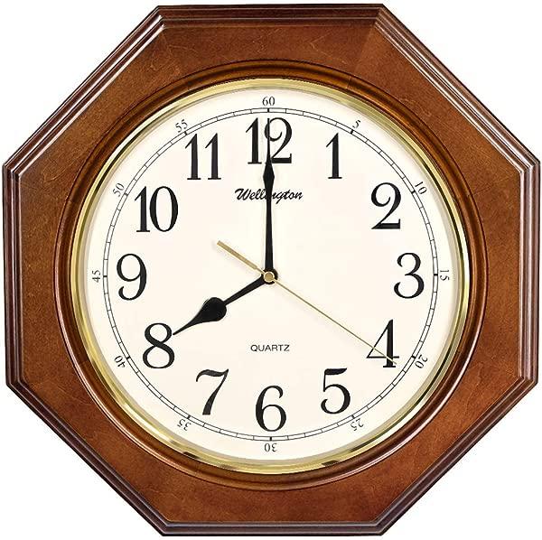 TXL Wooden Wall Clock 14 Silent Clock Solid Octagonal Basswood Case Non Ticking Digital Kitchen Living Room Decorative Vintage Wood Wall Clock G10126A