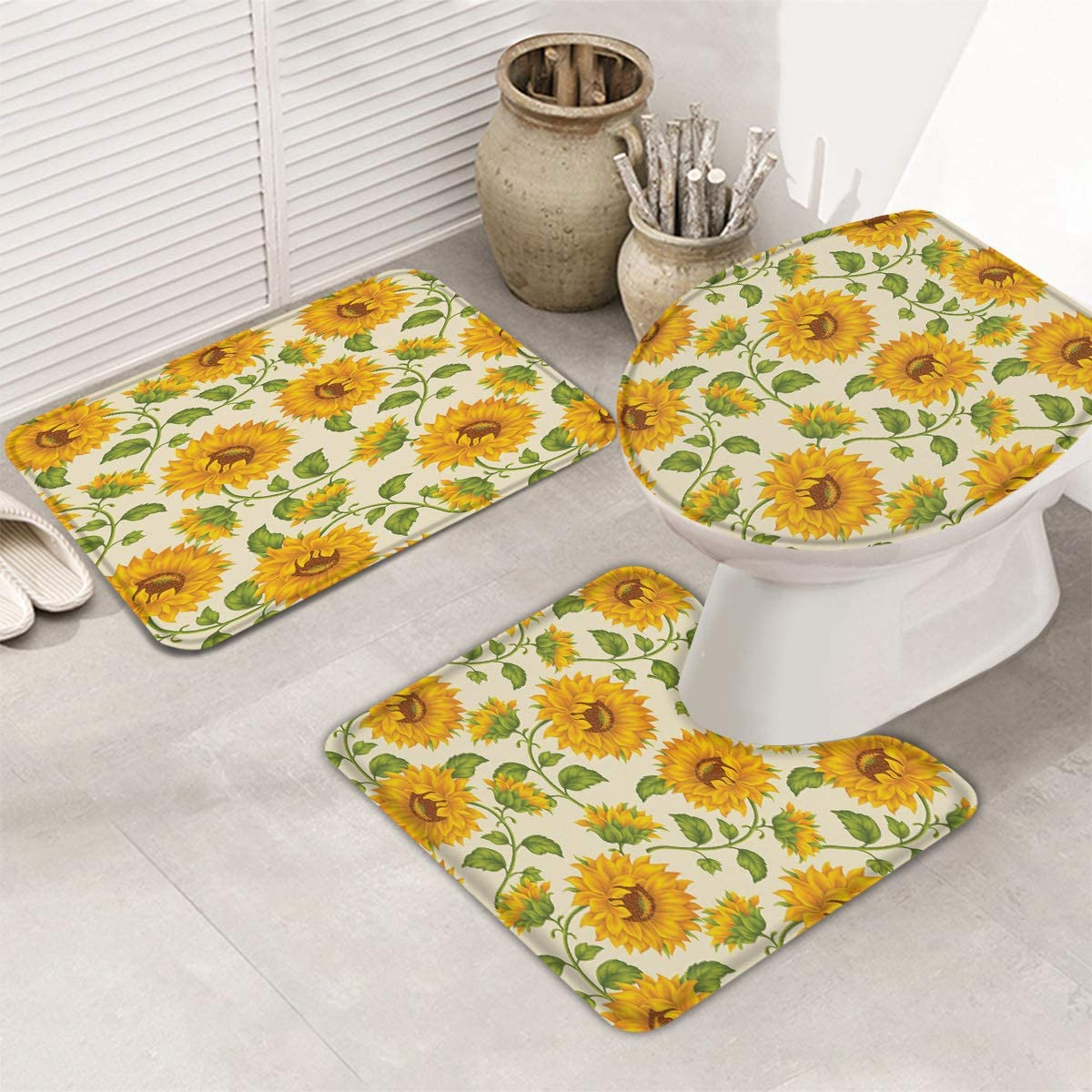 At the price InvisibleWings 3 Piece Set Bathroom Nippon regular agency Sunflower Su for Rugs Bloom