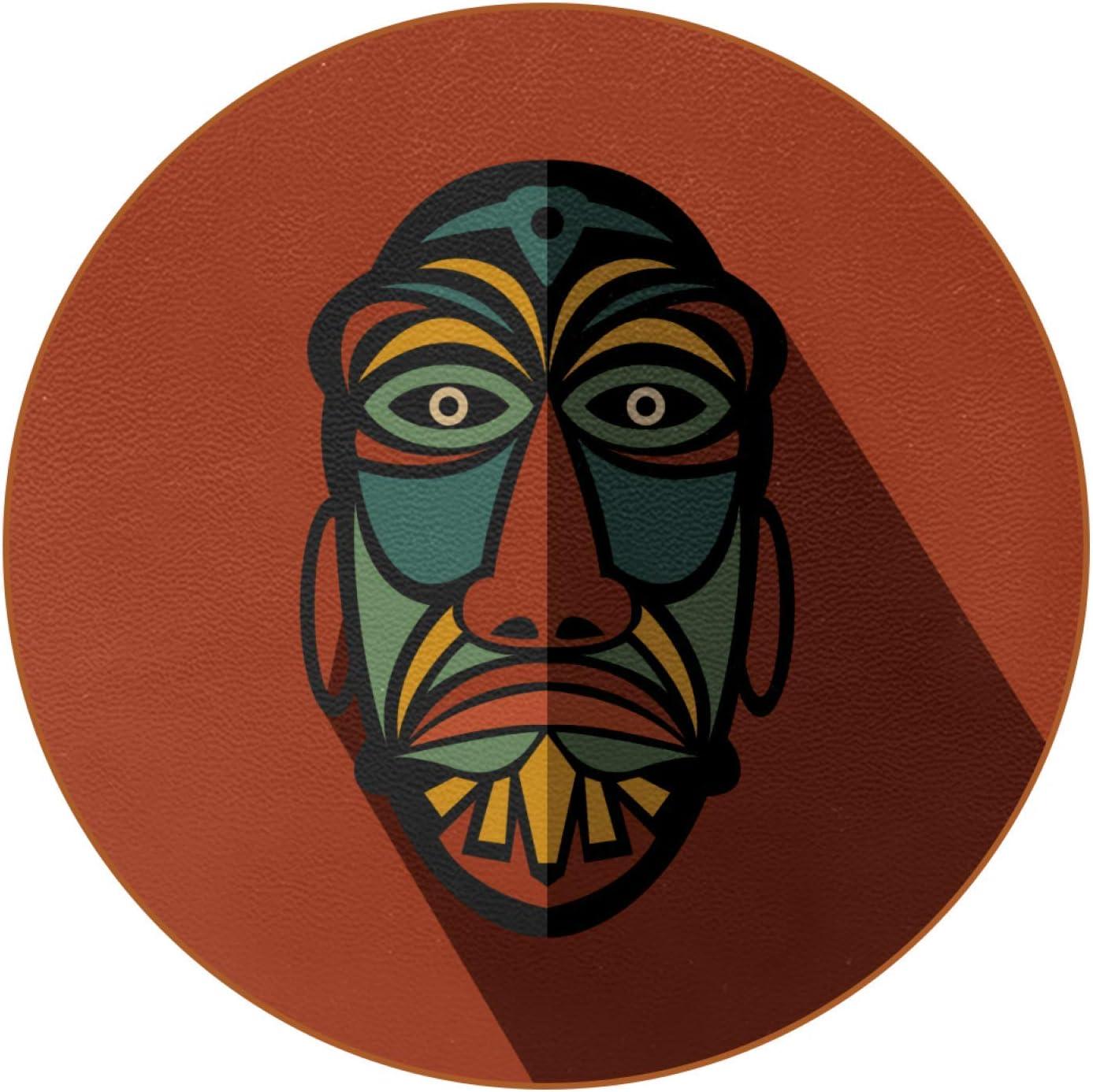 Juego de 6 Posavasos a Prueba de Calor protección de Todas Las Superficies de la Mesa Incluyendo Madera Vidrio mármol Piedra Máscara de tótem Africano 11x11 cm