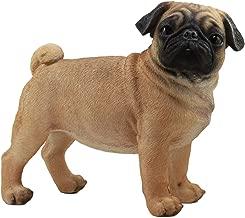 Ebros Large Lifelike Realistic Fawn Pug Dog Statue 12.5