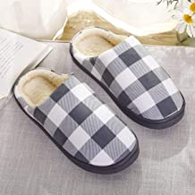 Cotton Slippers Winter Men And Women Couple Cotton Slippers Shoes Square Grids Design Indoor Home Warm Slippers Soft Breathable