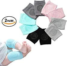 EAYIRA Baby Knee Pads for Crawling, Anti-Slip Padded Stretchable Elastic Cotton Soft Breathable Comfortable Knee Cap Elbow Safety Protector (Set of 2 Pairs)(Multi Color)