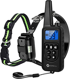 Slopehill Dog Training Collar, Waterproof Dog Shock Collar with 2600 Feet Remote, Rechargeable Electronic Dog Collar with Vibration Tone Shock Modes, Adjustable Collar Strap for Small Medium Large Dog