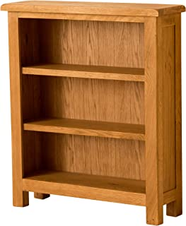 RoselandFurniture Lanner Oak Small Bookcase | Traditional Rustic Waxed Low Solid Wood Bookshelf with 3 Display Shelves for...