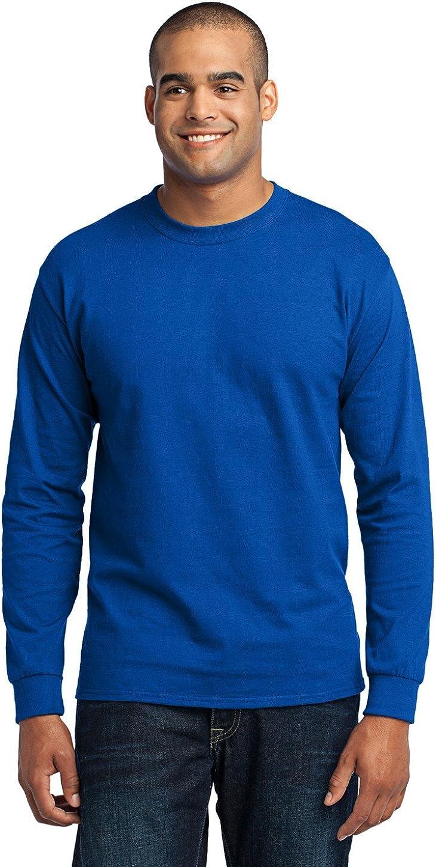 Port & Company Men's Tall Long Sleeve 50/50 Cotton/Poly T Shirt 2XLT Royal