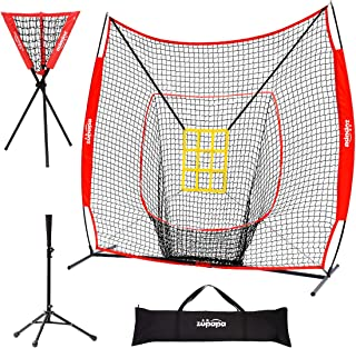 Zupapa 7 'x 7' Baseball Softball Hitting Pitching Net Teet Caddy Set، Zone Bonus Strike، Baseball Backstop Practice Net Net for Pitching Batting Catching عالی برای همه سطوح مهارت