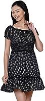 Abiti Bella Women's Western Black Polka Smoking Mini Dress