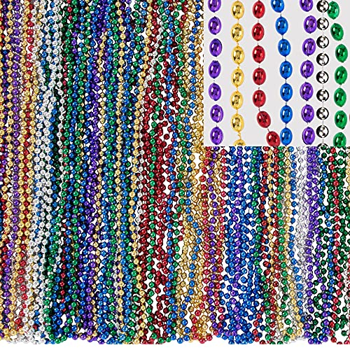 Party City Mardi Gras Bead Supplies, 30' Long Necklaces, 1440 Count, Includes Purple, Green, Gold, Red, Blue, and Silver