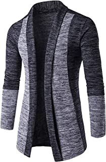 GUOCU Men Cardigan Shawl Collared Open Cable Chunky Knited Sweater Placket Long Line