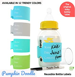 The Original Write & Reuse Baby Bottle Labels for Daycare - Available in 12 Colors (Cool Multi)