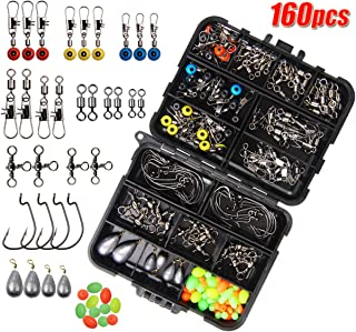 JSHANMEI 160pcs Fishing Accessories Kit, Including Jig Hooks, Bullet Bass Casting Sinker Weights, Different Fishing Swivels Snaps, Sinker Slides, Fishing Line Beads, Fishing Set with Tackle Box