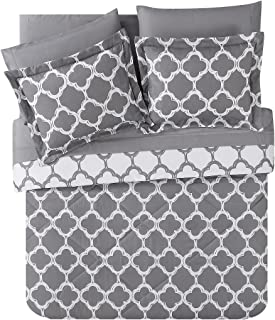 VCNY Home Galaxy Reversible 8-Piece Bed-in-a-Bag Comforter Set, Queen, Grey/White