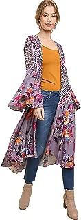 Womens Ruffled Long Body Kimono with a Multicolored Print