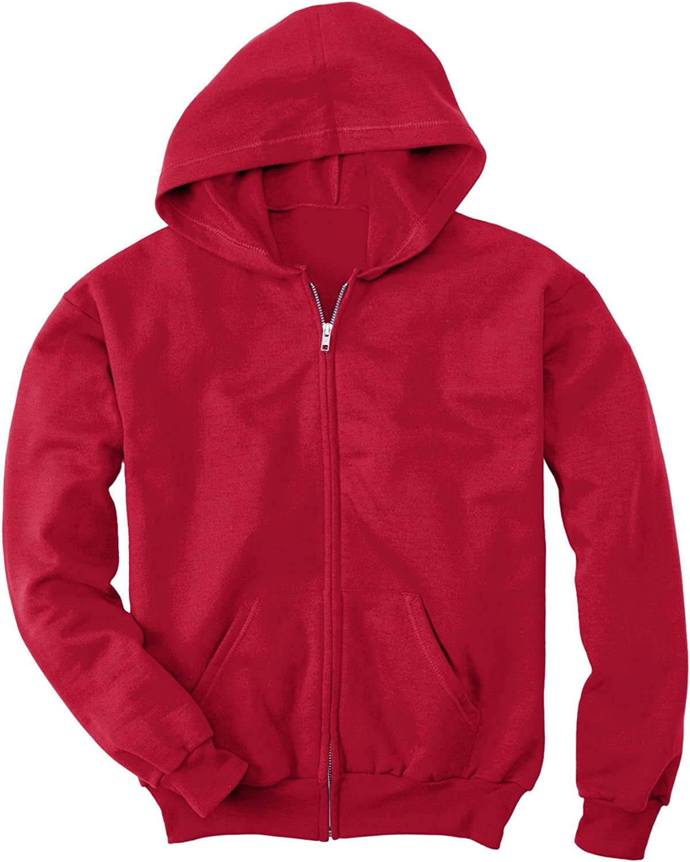 Hanes Youth Comfortblend EcoSmart Full-Zip Hood 7.8 Oz Sweatshirt, Deep Red, L