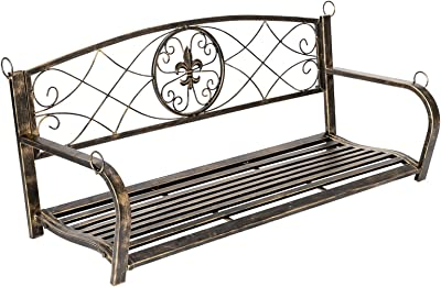 Wood Bench Fine Outdoor Chair Gold Paint Brush Metal Elegant Double Garden Porch Swing Black Outdoor Seating (Color : 24731334)