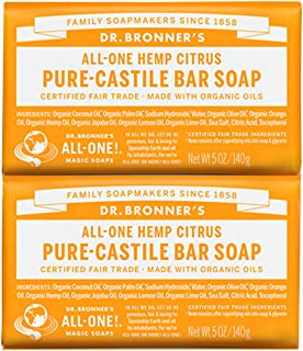 Dr. Bronner's - Pure-Castile Bar Soap (Citrus, 5 ounce, 2-Pack) - Made with Organic Oils, For Face, Body and Hair, Gentle and Moisturizing, Biodegradable, Vegan, Cruelty-free, Non-GMO