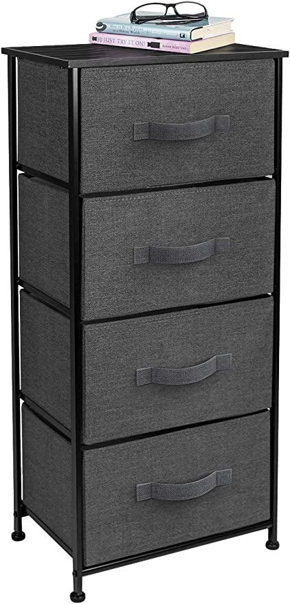 Amazon Com Sorbus Dresser With 4 Drawers Tall Storage Tower Unit Organizer For Bedroom Hallway Closet College Dorm Chest Drawer For Clothes Steel Frame Wood Top Easy Pull Fabric Bins Black Charcoal