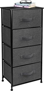 Sorbus Nightstand Chest with 4 Drawers - Bedside Furniture End Table & Dresser for Clothing, Bedroom Accessories, Office, College Dorm, Steel Frame, Wood Top, Easy Pull Fabric Bins (Black/Charcoal)