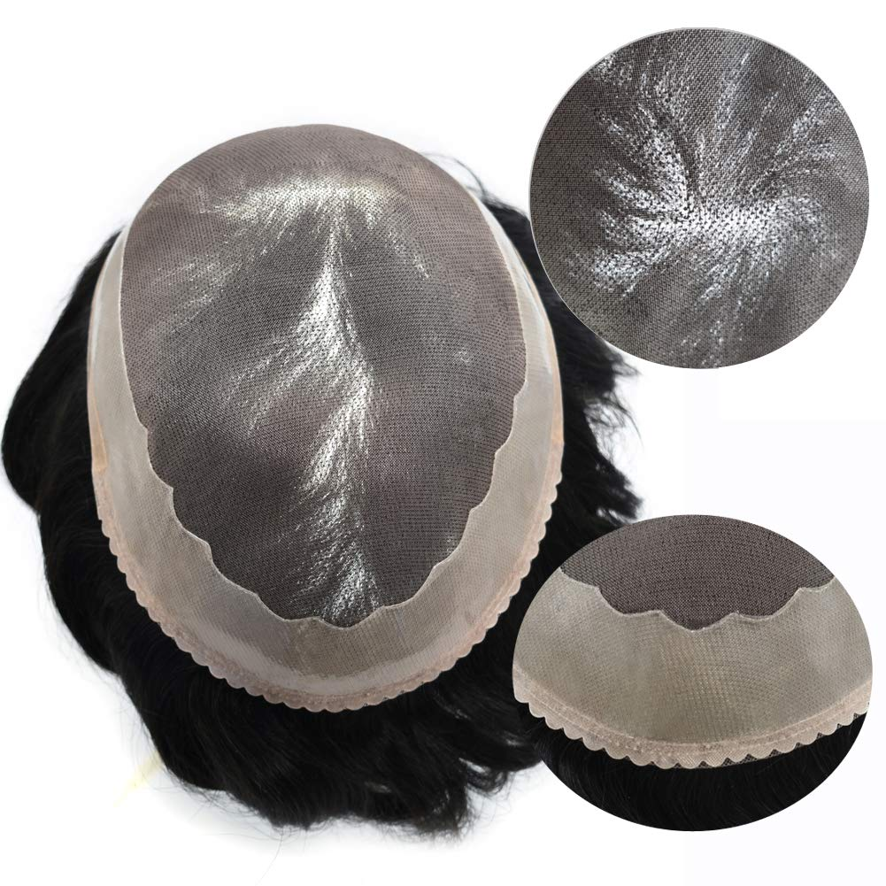 LYRICAL HAIR System NEW before selling ☆ Fine Mono Mens Max 42% OFF Repla Toupee Black Human Hair