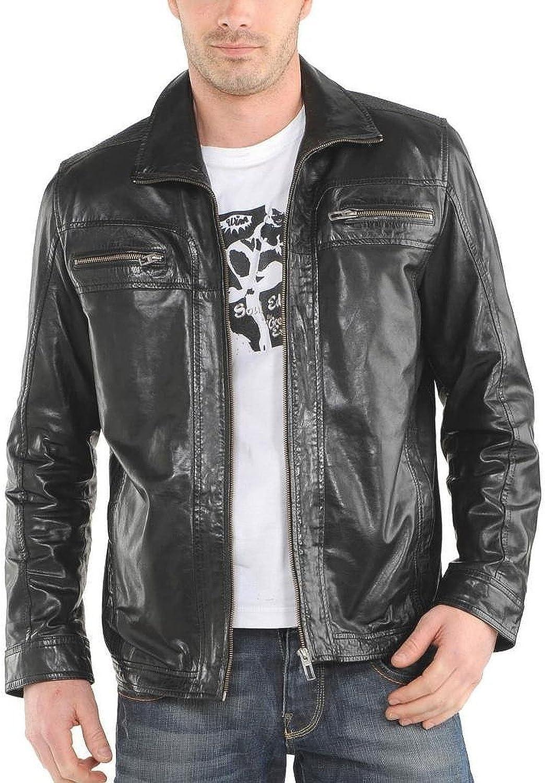 Laverapelle Men's Black Genuine Lambskin Leather Jacket - 5378