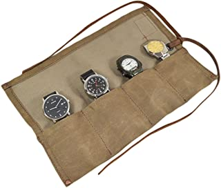 Hide & Drink Waxed Canvas Travel Watch Roll Organizer Holds Up to 4 Watches Handmade Fatigue