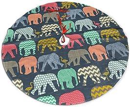 "TUTRJ Elephant Flamingo Art 48"" Christmas Tree Skirt for Decor, New Year Festive Holiday Party Decoration"