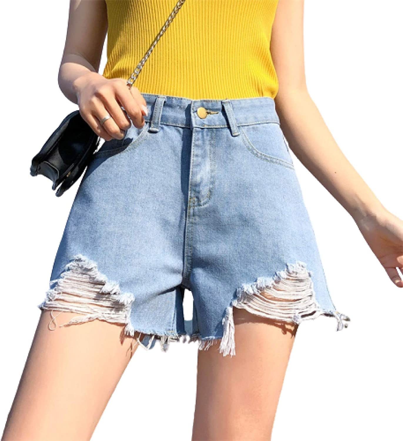 Generico Denim Shorts Women Summer Ripped High Waist Slim Fit Loose Wide Legs Outing