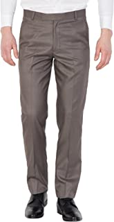 American-Elm Men Brown Slim Fit Solid Cotton Formal Trouser