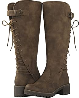 GLOBALWIN Women's Lace Up Back Knee High Fashion Boots
