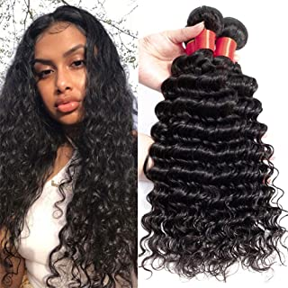 Brazilian Virgin Hair Deep Wave Bundles 1 Bundles Unprocessed Virgin Remy Human Hair Deep Curly Hair Weave Natural Color (20)